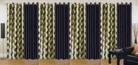 Ville Style 214 cm (7 ft) Polyester Door Curtain (Pack Of 8)(Abstract, Green, Black)