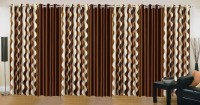 Ville Style 275 cm (9 ft) Polyester Long Door Curtain (Pack Of 7)(Abstract, Brown)