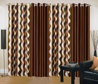 Ville Style 214 cm (7 ft) Polyester Door Curtain (Pack Of 4)(Abstract, Brown)