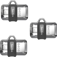 View SanDisk Ultra Dual Drive 3.0 OTG (Pack of 3) 64 GB Pen Drive(Multicolor) Price Online(SanDisk)