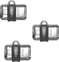 SanDisk Ultra Dual Drive 3.0 OTG (Pack of 3) 32 GB Pen Drive(Multicolor)