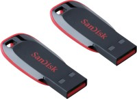 View SanDisk USB Cruzer Blade Flash Drive 32GB + 16 GB Pen Drive(Red, Black) Price Online(SanDisk)
