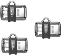 SanDisk Ultra Dual Drive 3.0 OTG (Pack of 3) 16 GB Pen Drive(Multicolor)