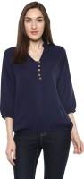 Krapal Formal 3/4th Sleeve Solid Women Blue Top