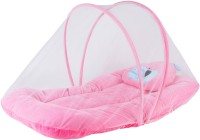 My New Born baby bedding set with protective mosquito net, cute pillow and folding velvet mattress, Standard Crib(Velvet with soft cushioning for maximum comfort and sound sleep, Pink)