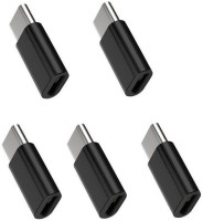 Freya PACK OF 5 MICRO USB FEMALE TO C TYPE MALE METAL BODY CONVERTER FOR CHARGING USB Adapter(Black)