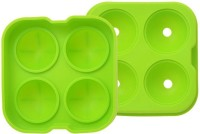 S.Blaze 4 Cavity Flexible, Freezable Silicone Tray Molds, Make 4.5cm Round Ice Ball Spheres, Christmas Gift With Funnel(Size: Length-13 x Width-3 x Height-12) ) By Shuban(Green) Green Silicone Ice Cube Tray Green Silicone Ice Ball Maker(Pack of 1)