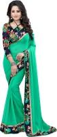 Exclusive Designer Floral Print Bollywood Georgette Saree(Green)