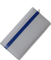 Kittu Cheque book and passbook Holder silver with a perfect blue line(Silver)