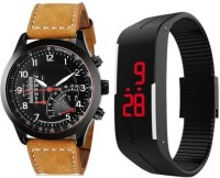 FabSale KK-01-143 Brown Pure Leather And Digital Hand Band Combo Analog-Digital Watch Watch  - For Boys