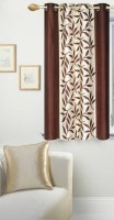 Panipat Textile Hub Polyester Window Curtain 150 cm (5 ft) Single Curtain(Floral Brown)