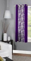 Panipat Textile Hub 150 cm (5 ft) Polyester Window Curtain Single Curtain(Floral, Purple)