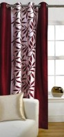 Panipat Textile Hub Polyester Long Door Curtain 274 cm (9 ft) Single Curtain(Floral Maroon)