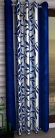Panipat Textile Hub 210 cm (7 ft) Polyester Door Curtain Single Curtain(Floral, Navy Blue)