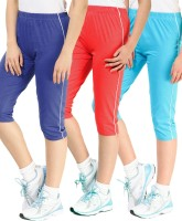 Minnow Capri For Girls Casual Solid Cotton(Multicolor Pack of 3)