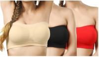 FILBA Women Tube Non Padded Bra(Beige, Black, Red)
