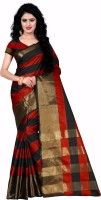 Trendz Style Striped Fashion Tussar Silk Saree(Red, Black)