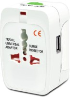 VU4 Multiplug With USB Worldwide Adaptor(White)