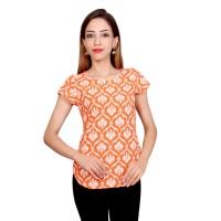 Krapal Casual Cap Sleeve Printed Women Orange Top