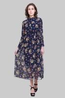 Crease & Clips Women's Maxi Dark Blue, Multicolor Dress