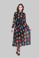 Crease & Clips Women's Maxi Black, Multicolor Dress
