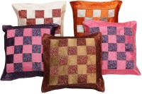 Halowishes Checkered Cushions Cover(Pack of 5, 40 cm*40 cm, Multicolor)