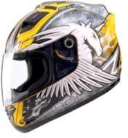 sol Unicorn 11 Flat HI-VIS Yellow Silver Motorbike Helmet(Yellow, Silver)