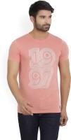 Peter England University Printed Men's Round Neck Pink T-Shirt