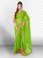 Divastri Embellished Fashion Poly Georgette Saree(Green)