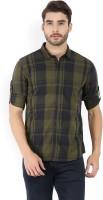Highlander Men's Checkered Casual Black, Dark Green Shirt