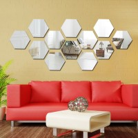 Wall1ders Large 12 Hexagon Silver (Size 10.5 x 12.1) 3D Acrylic Stickers, 3D Acrylic Mirror Wall Stickers for Living Room, Hall, Bed Room & Home(Pack of 12)