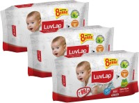 LuvLap Paraben Free Baby Wet Wipes with Aloe Vera(72 Wipes + 8 Wipes Free)x3 packs(Total 216 + 24 Free = 240 wipes)(3 Pieces)
