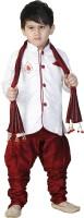 FTC FASHIONS Boys Festive & Party Kurta, Pyjama & Dupatta Set(White Pack of 1)