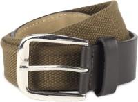 Provogue Men Khaki, Brown Genuine Leather, Canvas Belt