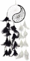 Atharv Enterprises Beautiful Ying Yang dream catcher Wind-chime Decorative Showpiece  -  20 cm(Feather, Multicolor)