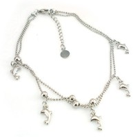 Bold N Elegant Single Silver Plated Dolphin Fish Anklet Ankle Bracelet Barefoot Foot Jewelry Alloy Anklet