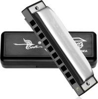 Swan 10 Hole Key Of C Blues Power Harmonica Mouth Organ(Silver, Black)