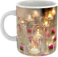 GiftOwl Happy Birthday Joy and Light Ceramic Coffee for Friend, Girlfriend & BoyFriend Glossy Finish With Vibrant Print Ceramic Mug(0.325 ml)