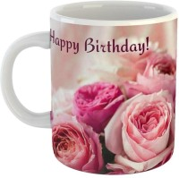 GiftOwl Super Rose Happy Birthday Ceramic Coffee for Friend, Girlfriend & BoyFriend Glossy Finish With Vibrant Print Ceramic Mug(350 ml)