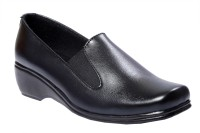 JK Port Ladies New Formal Shoes Slip On For Women(Black)