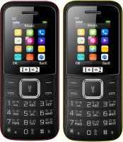 1+1=2 D2 Dual Sim Combo of Two Mobile(Black Yellow, Black Red)