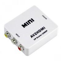 FOX MICRO Mini AV to HDMI AV / CVBS 3 RCA Composite Video AV to HDMI Converter Converter 1080P Input to Hdmi Output Vedio Converter Adapter for TV/PC/PS3/Blue-Ray DVD-(COLOR MAY VERY) Media Streaming Device(White)