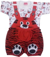 RspEnterprises Dungaree For Boy's & Girl's Printed, Animal Print Cotton(White, Pack of 1)