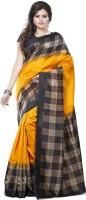Saara Solid, Geometric Print, Printed Daily Wear Cotton, Silk Saree(Yellow)