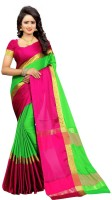Bhuwal Fashion Solid Fashion Silk Cotton Blend Saree(Green, Pink, Gold)