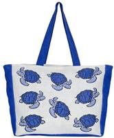 Bohemians' bag Jute Bag weekender - Tortoise Waterproof Weekender(White, Blue, 14 inch)