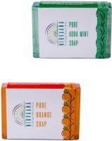 Nirvaana Handmade Natural Assorted Soap Set (AquaMInt & Orange) Pack of 2(200 g, Pack of 2) - Price 140 50 % Off