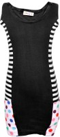 Lil Orchids Girls Midi/Knee Length Casual Dress(Black, Sleeveless)