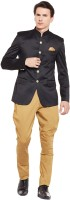 Routeen Solid Mandarin Wedding Men Blazer(Black)