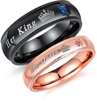 Yellow Chimes Crown Engraved 'King Queen'' Rose Gold Crystal Stainless Steel Gold Plated Ring
